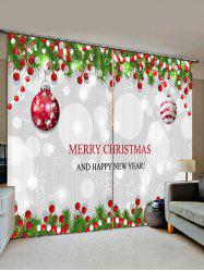 2 Panels Christmas Tree Balls Greeting Pattern Window Curtains -