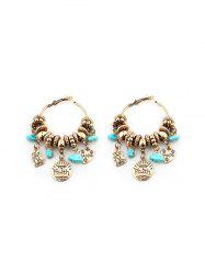 Artificial Turquoise Heart Faith Hoop Earrings -