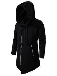 Zip Up Asymmetric руно Gothic Hoodie - Чёрный 2XL
