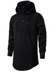 Drawstring Front Pocket Longline Fleece Gothic Hoodie -