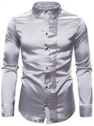 Shiny Sequins Panel Button Up Shirt -
