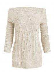 Off Shoulder Cable Knit Loose Sweater -