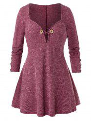 Plus Size Criss Cross Mock Button Sweetheart Neck Knitwear -