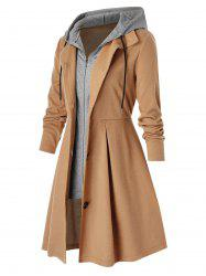 Plus Size Hooded Zip Button Front Tunic A Line Coat -