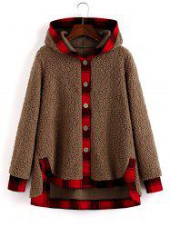 Plaid Trim Hooded Faux Shearling High Low Coat -