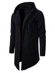 Plain Open Front Hooded Jacket -