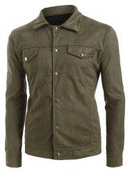 Faux solide rabat boutonné Pocket Casual Jacket -