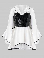 Plus Size Sequined Piping Flare Sleeve Tunic Blouse -