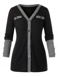Plus Size Button Up Contrast Ribbed Cardigan -