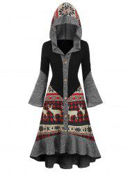 Christmas Elk Hooded Flippy Hem Knitted Dress -