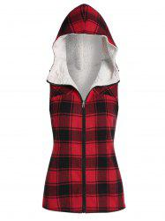 Plaid à capuche Imprimer Faux Shearling Zip Up Vest -