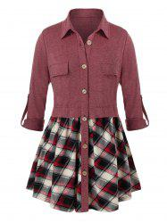 Plus Size Plaid Roll Tab Sleeve Button Front Tunic Blouse -