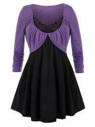Plus Size Guipure Lace Two Tone Tunic Contrast Tee -