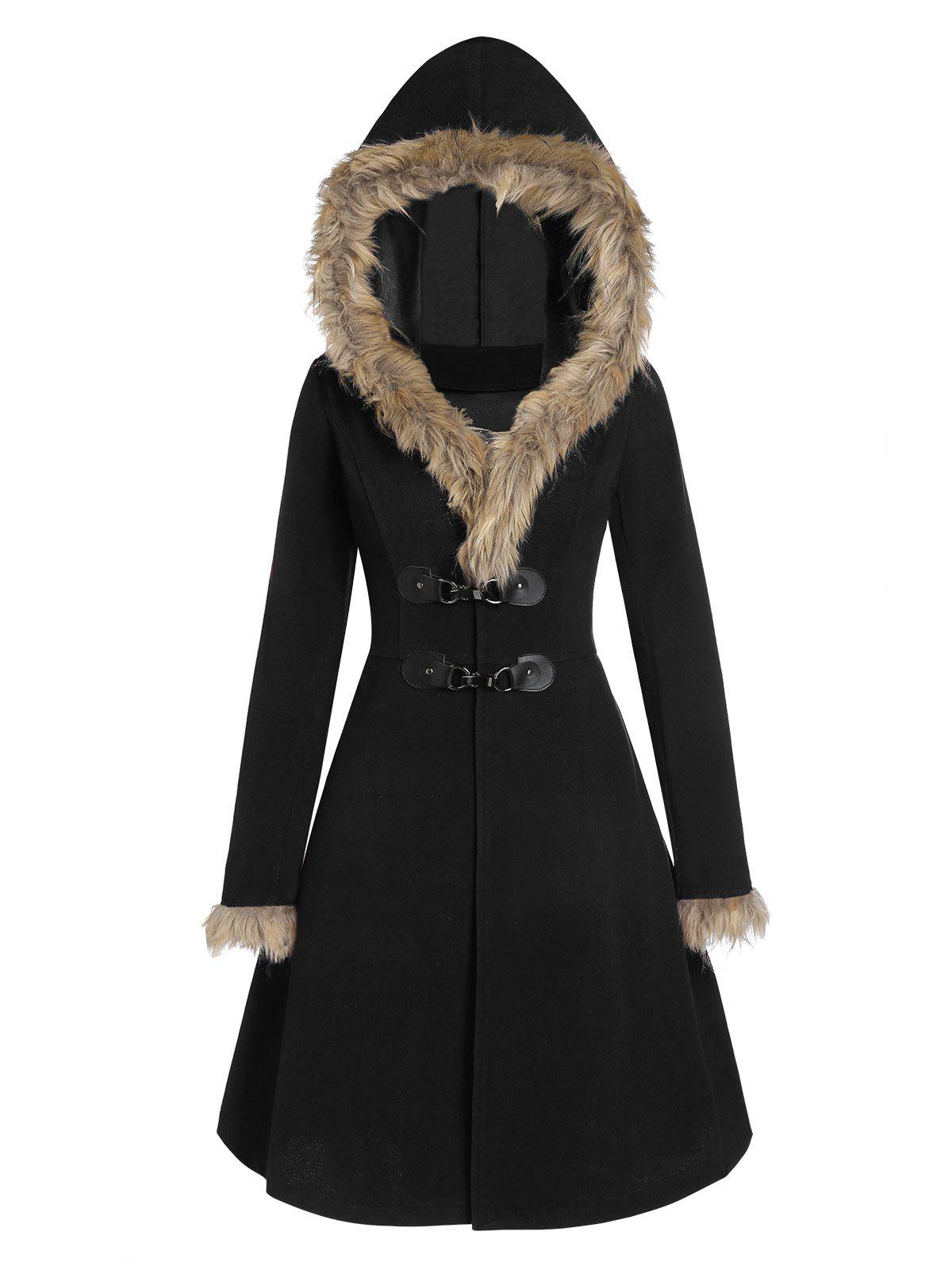 Unique Faux Fur Hood Longline Coat