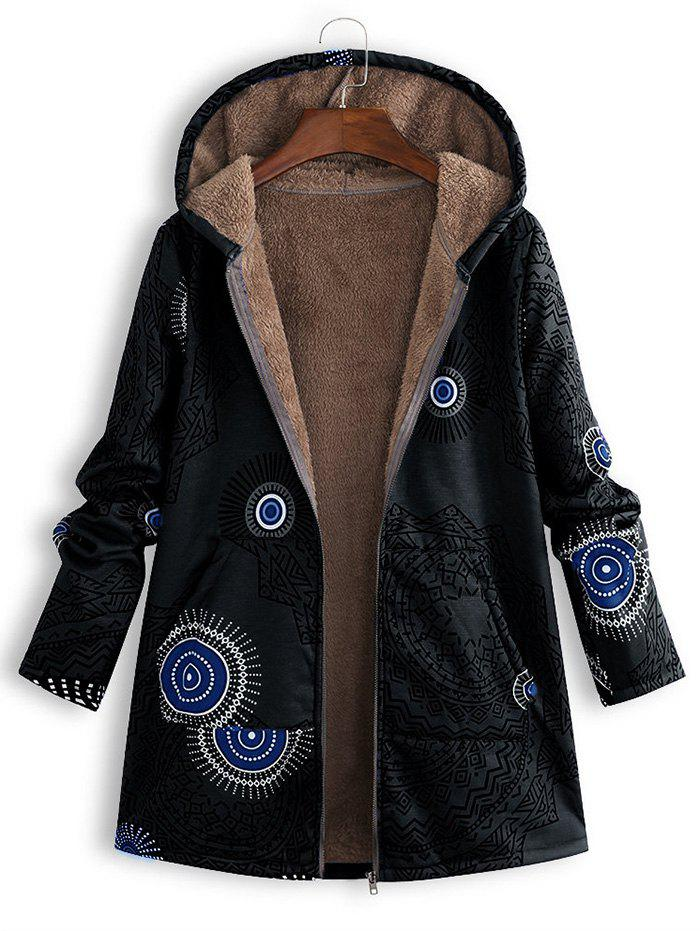 Sale Hooded Printed Plush Lining Front Pocket Coat