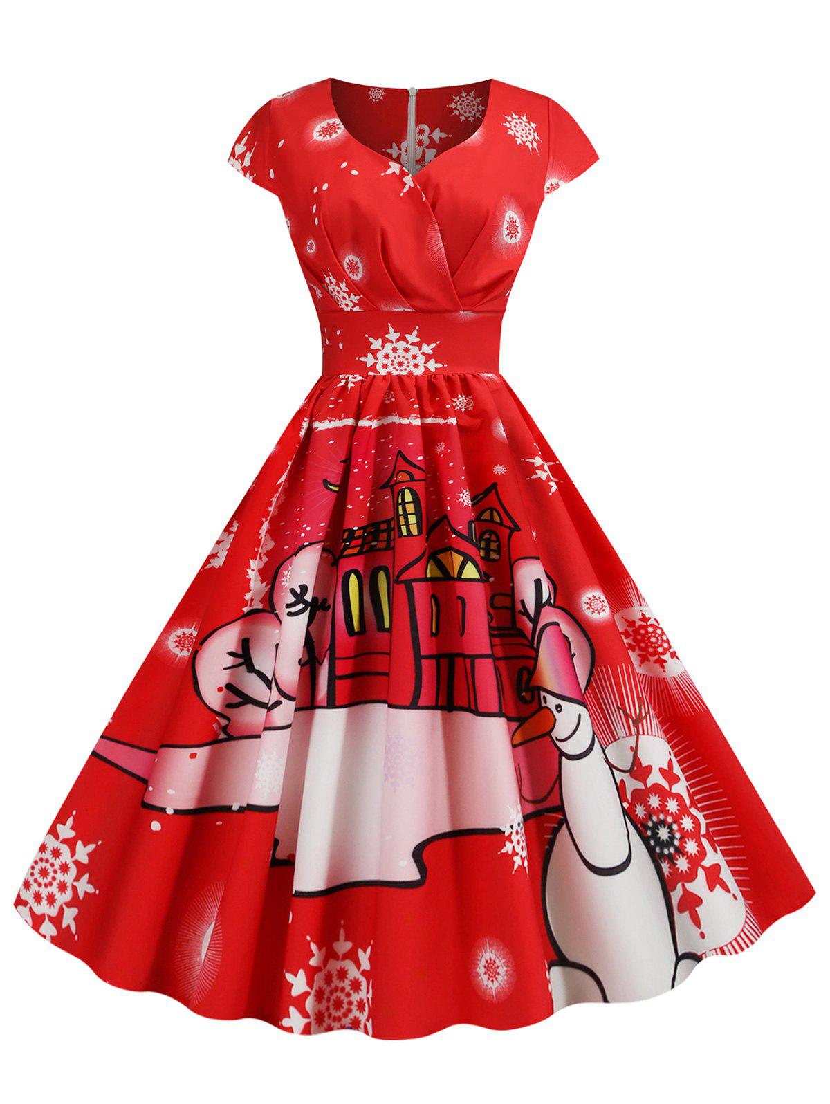 Shops Pleated Christmas Santa Claus Elk Snowman Print Surplice Dress
