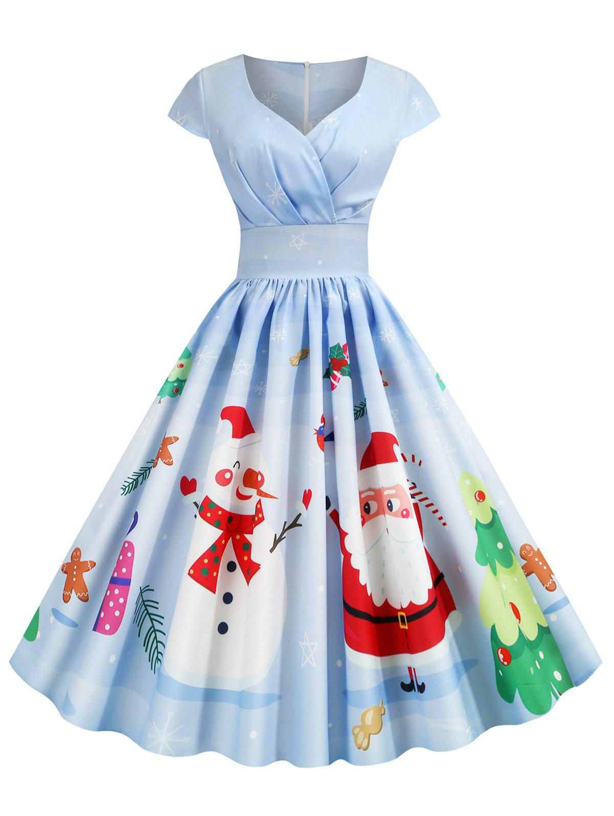 Latest Pleated Christmas Santa Claus Elk Snowman Print Surplice Dress