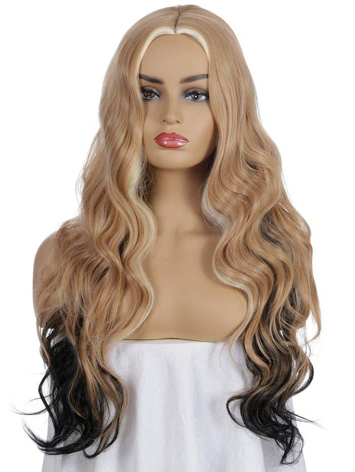 Trendy Synthetic Center Part Long Mixed Ombre Body Wave Wig