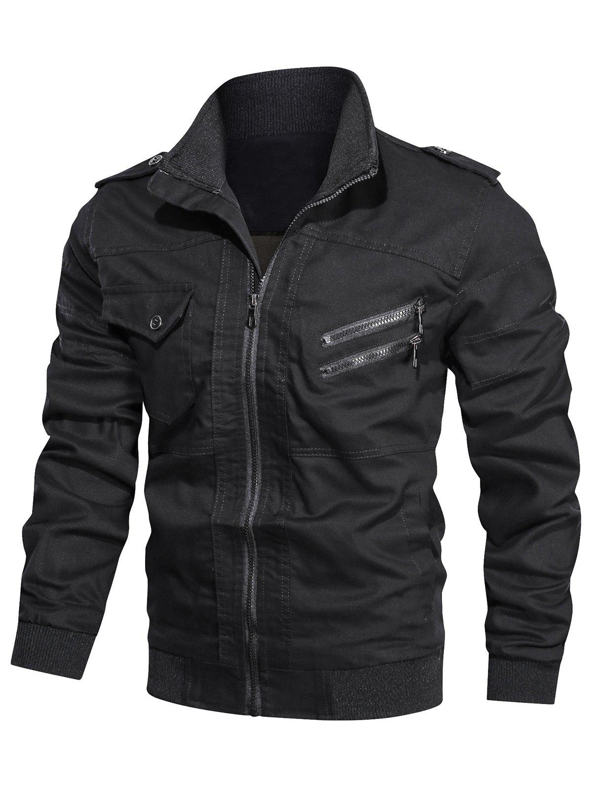 Outfit Solid Color Pocket Decorated Zip Up Jacket