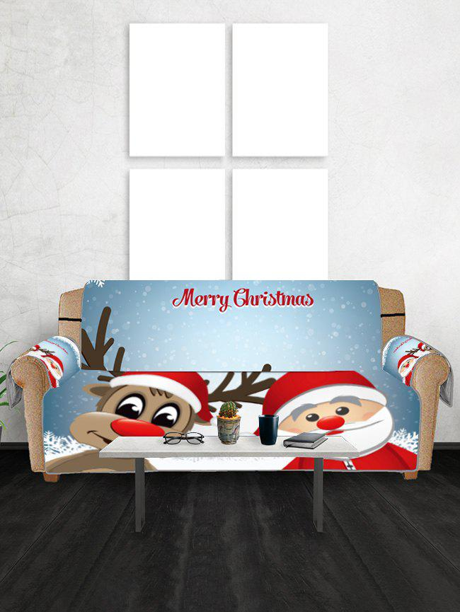 Store Christmas Santa Claus and Deer Pattern Couch Cover