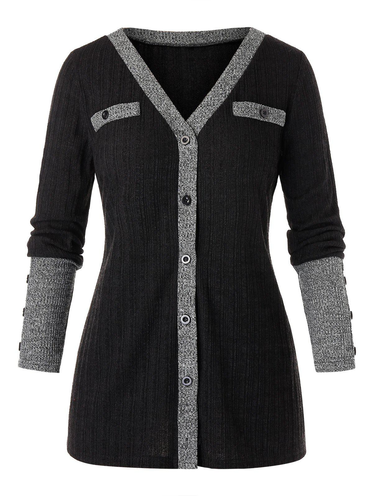 Store Plus Size Button Up Contrast Ribbed Cardigan