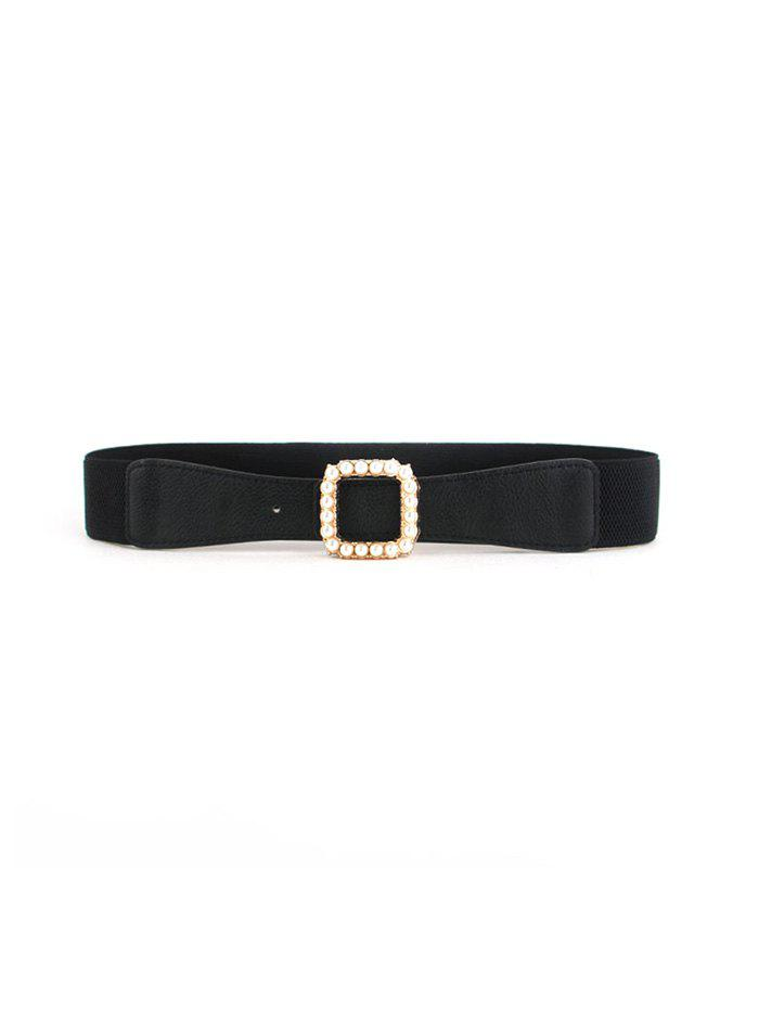 Chic Faux Pearl Square Buckle Elastic Belt