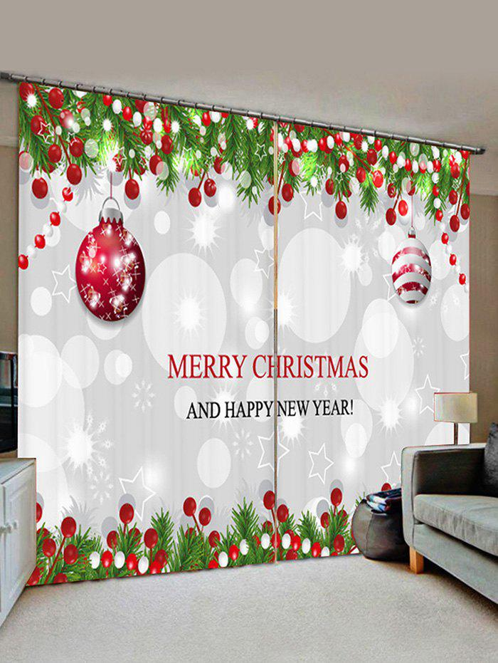 Outfits 2 Panels Christmas Tree Balls Greeting Pattern Window Curtains