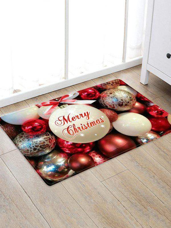 Buy Christmas Bowknot Balls Greeting Pattern Water Absorption Area Rug