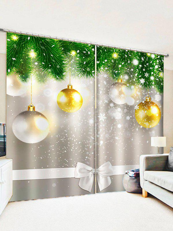 Hot 2 Panels Christmas Tree Balls Bowknot Pattern Window Curtains