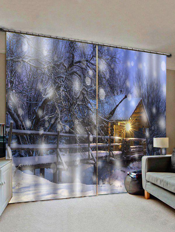 Discount 2 Panels Snowy Forest House Light Pattern Window Curtains