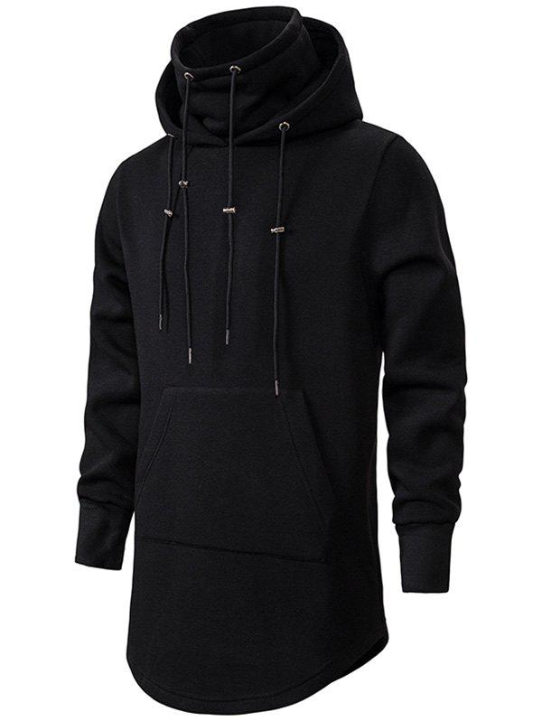 Outfits Drawstring Front Pocket Longline Fleece Gothic Hoodie