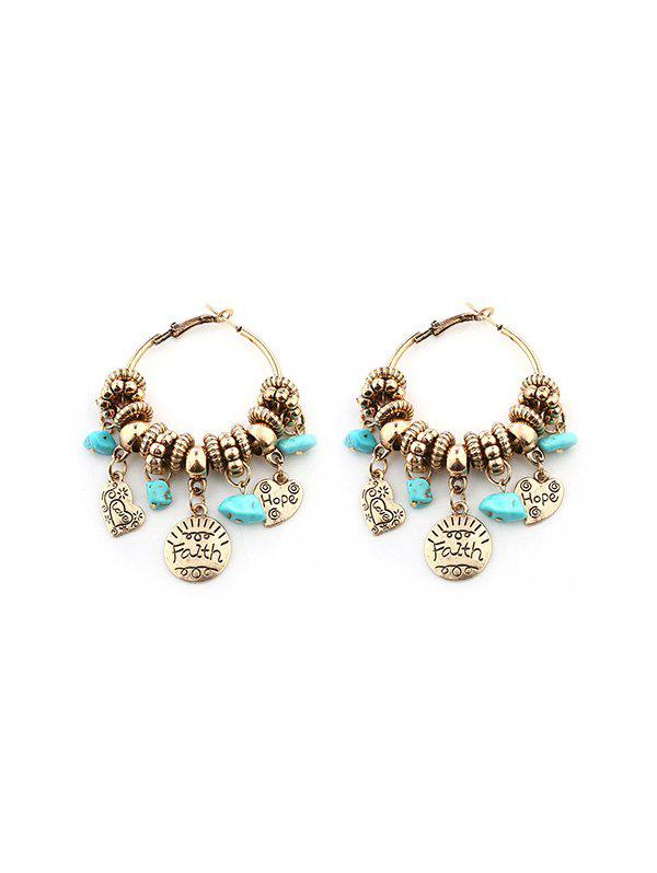 Discount Artificial Turquoise Heart Faith Hoop Earrings