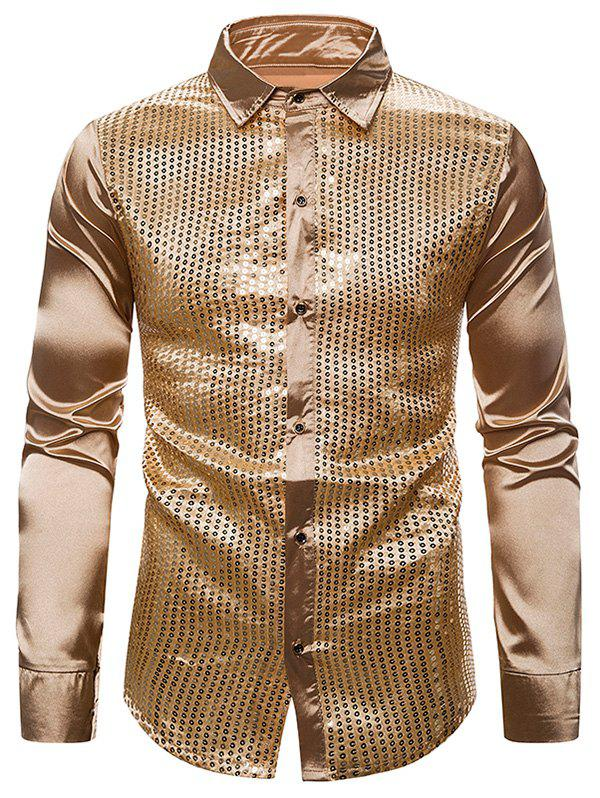 Fashion Sequins Panel Button Up Long Sleeve Shirt