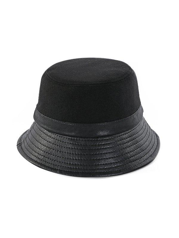Fancy Winter Felt Patchwork Solid Bucket Hat
