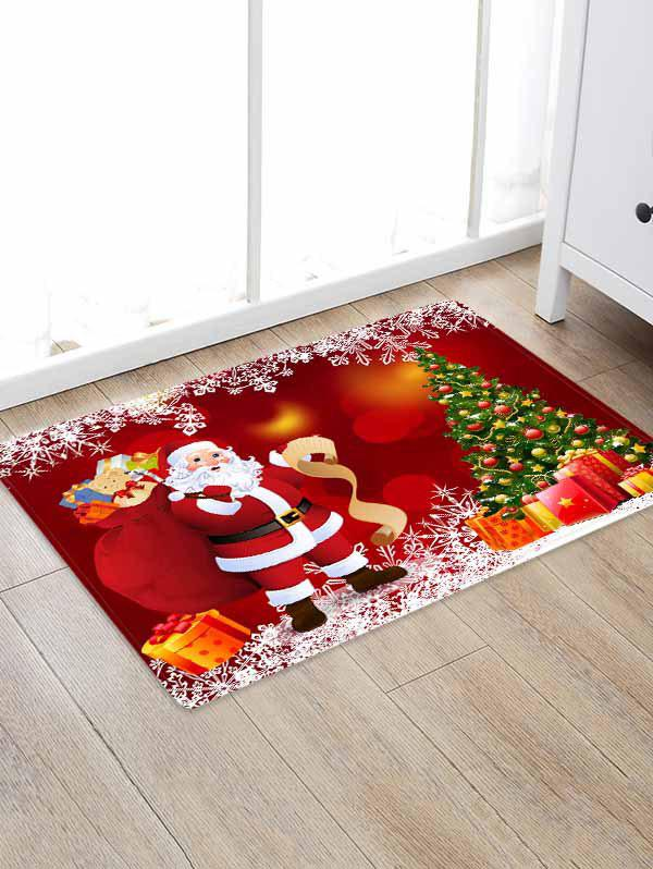 Latest Christmas Tree Gifts Santa Claus Pattern Water Absorption Area Rug
