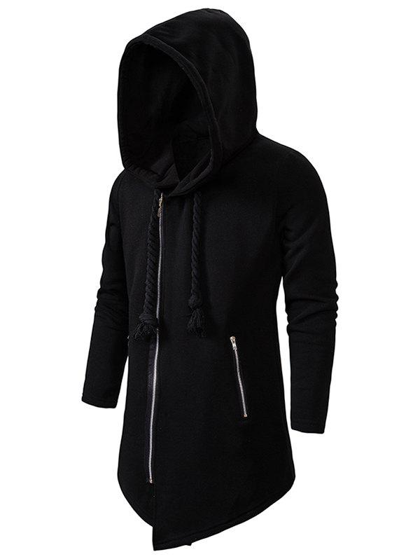 Zip Up Asymmetric руно Gothic Hoodie Чёрный 2XL