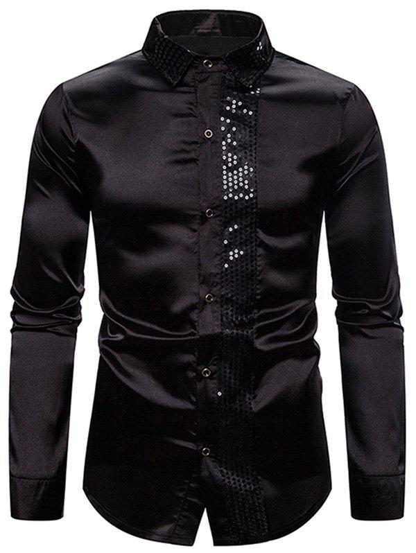 Latest Shiny Sequins Panel Button Up Shirt