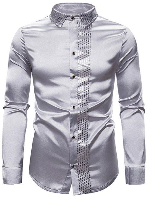 Affordable Shiny Sequins Panel Button Up Shirt