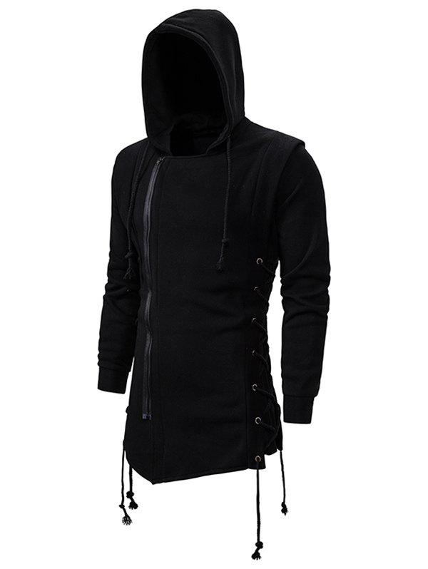 Buy Side Lace Up Fleece Gothic Hoodie