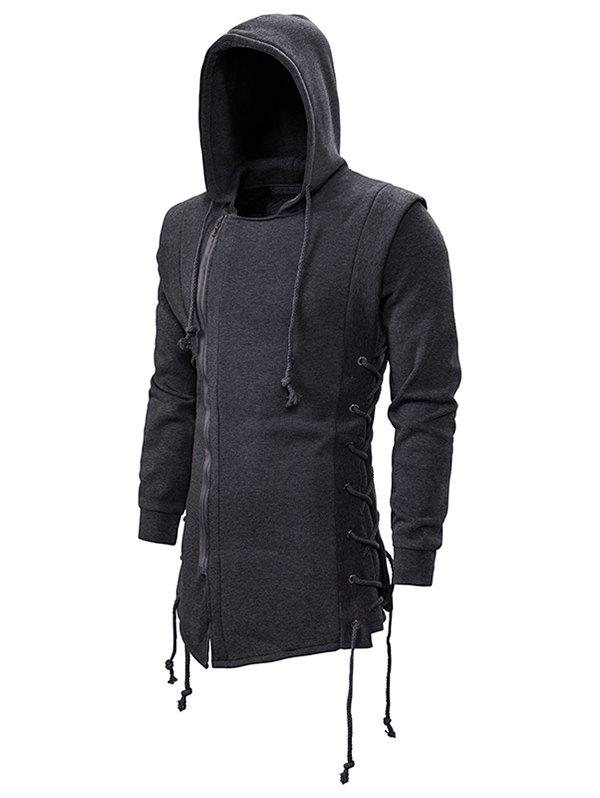 Outfits Side Lace Up Fleece Gothic Hoodie