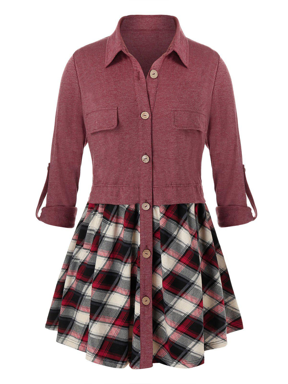 Buy Plus Size Plaid Roll Tab Sleeve Button Front Tunic Blouse