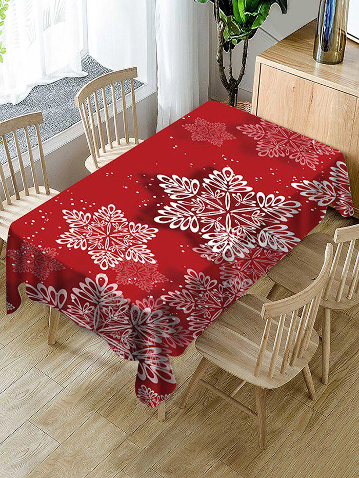 Trendy Christmas Snowflake Print Waterproof Fabric Tablecloth