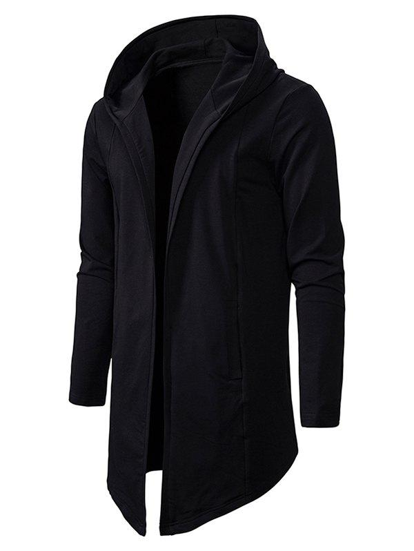 Best Plain Open Front Hooded Jacket