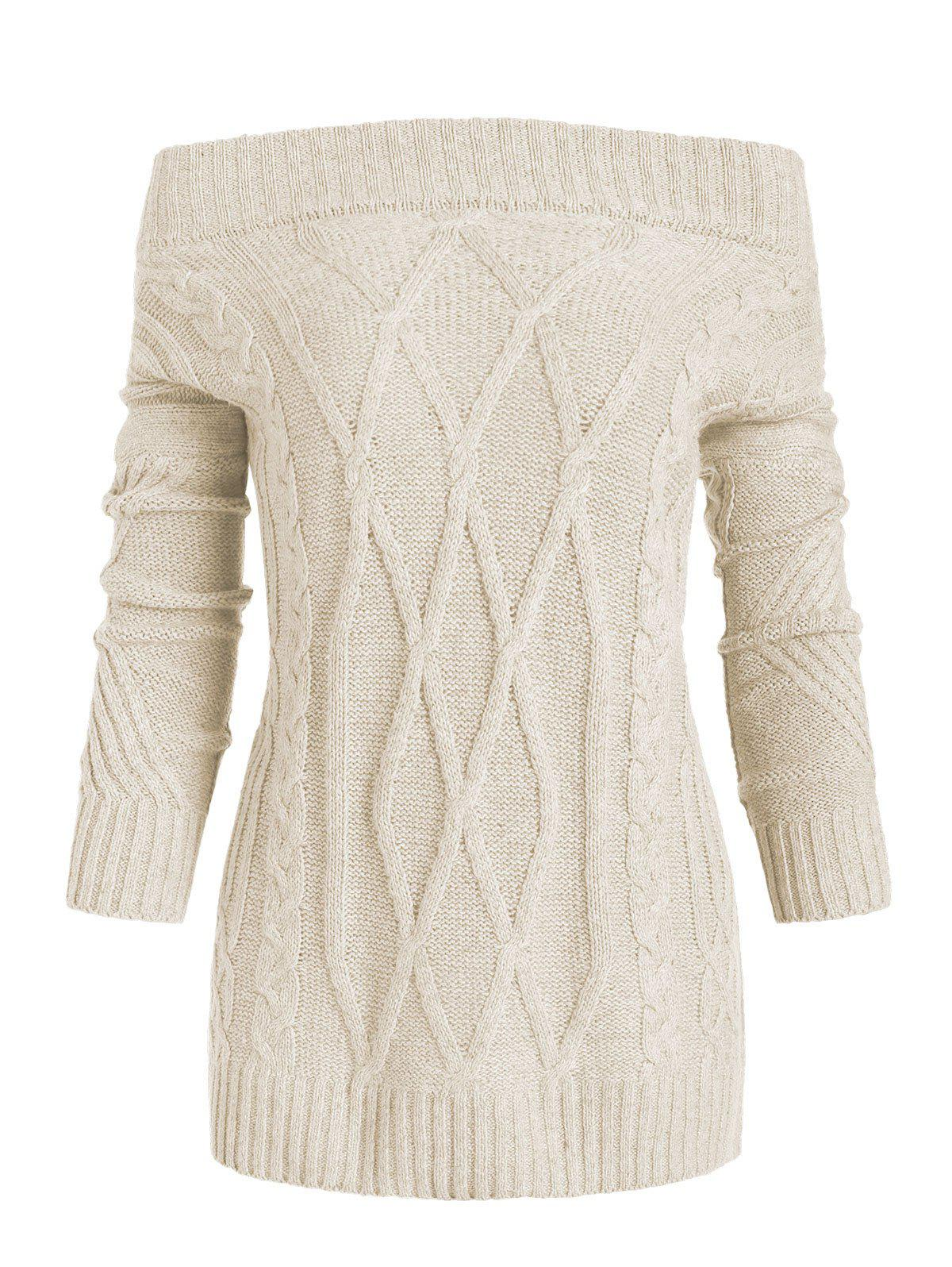 Chic Off Shoulder Cable Knit Loose Sweater