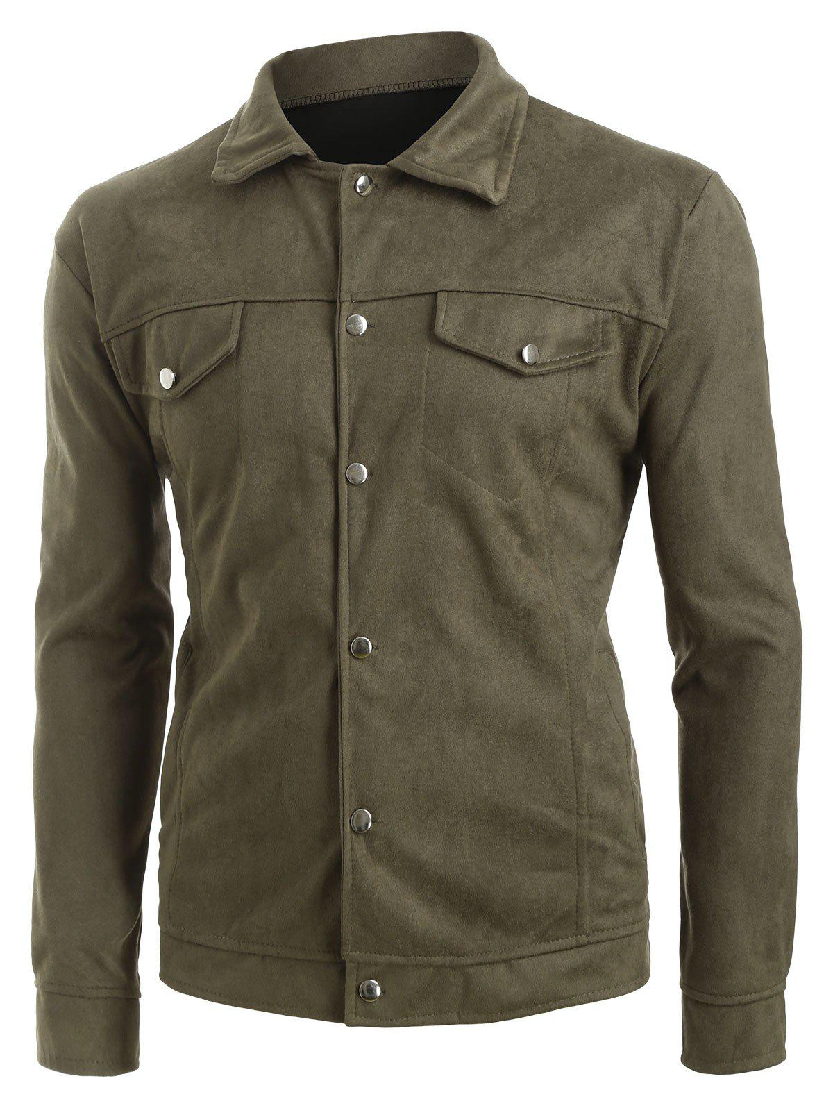 Faux solide rabat boutonné Pocket Casual Jacket