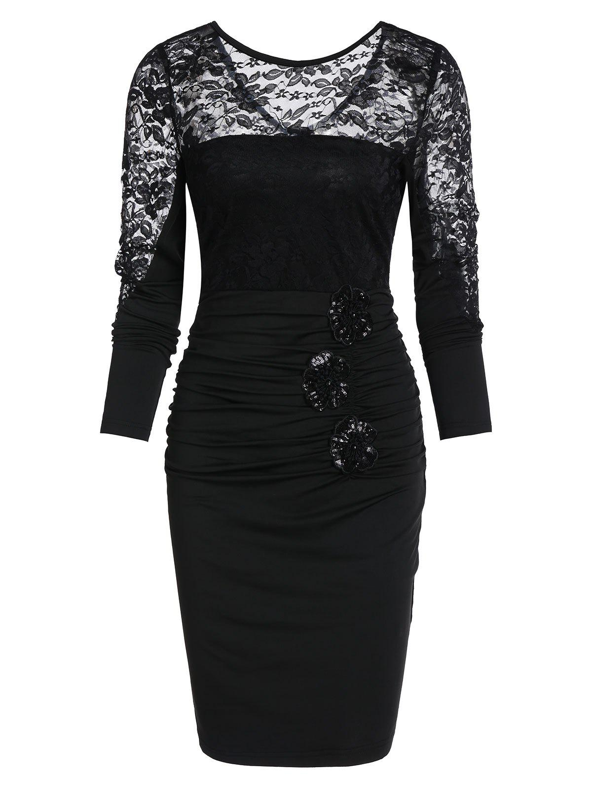 New Sexy Lace See Through Sheath Dress