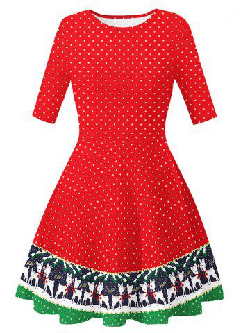 Santa Claus Dotted Cats Christmas Mini Dress