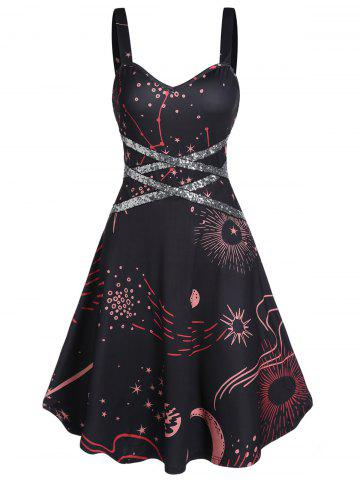 Star Print Criss Cross Sequin Sweetheart Neck Dress