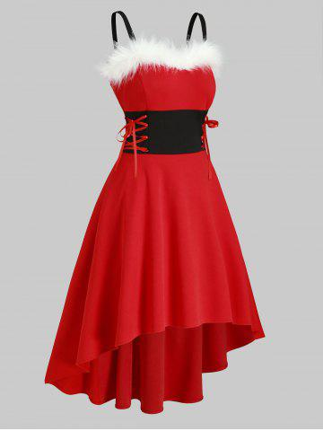 Christmas Faux Fur Panel Lace Up Dip Hem Dress