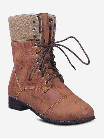 Lace Up Cargo Mid Calf Boots